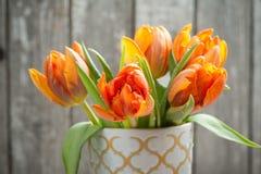 Bouquet of orange tulips stock images