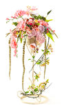 Bouquet of orchid and berry in metal bucket Stock Images