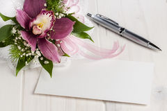 Bouquet Orchid Blank Card Ballpoint Whitespace Stock Image