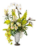 Bouquet of orchid and calla lily in glass vase. Isolated on white Royalty Free Stock Images
