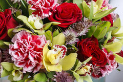 Bouquet of orchid, rose and carnation flowers Stock Photography