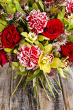 Bouquet of orchid, rose and carnation flowers Royalty Free Stock Image