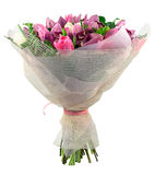 Bouquet of orchid and tulips Royalty Free Stock Images