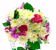 Bouquet of orchids and chrysanthemums isolated on Stock Images