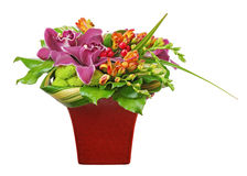 Bouquet from orchids and lilies in red vase isolated on white ba Stock Photography