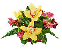 Bouquet from orchids and lilies in vase isolated on white backgr Royalty Free Stock Photos