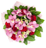 Bouquet from orchids and roses Royalty Free Stock Photo