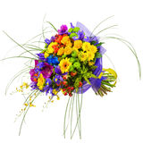 Bouquet from Orchids, Roses and Gerbera Flowers Isolated on Whit Royalty Free Stock Photo