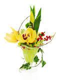 Bouquet from orchids, tulips and ivy Stock Photography