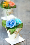 Bouquet of paper rose in vase Stock Photo