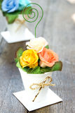 Bouquet of paper rose in vase Stock Photography