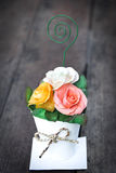 Bouquet of paper rose in vase,vintage style Royalty Free Stock Photography