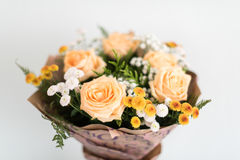 Bouquet of peach roses beatiful Stock Photos