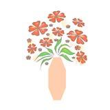 Bouquet in peach vase Stock Photo
