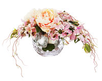 Bouquet from peon flowers and orchids. Bouquet from peon flowers and orchids in glass vase isolated on white background. Closeup Stock Image