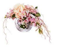 Bouquet from peon flowers and orchids. Bouquet from peon flowers and orchids in glass vase isolated on white background. Closeup Stock Photos