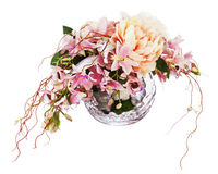 Bouquet from peon flowers and orchids. Bouquet from peon flowers and orchids in glass vase isolated on white background. Closeup Stock Images