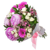 Bouquet from peon and gerbera flowers and roses isolated on whit. E background. Closeup Royalty Free Stock Photos