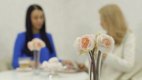 Bouquet of peonies at blurred business meeting background. Focus on peonies. Two adult women sits in cafe and communicates. Pretty blonde and brunette drinks stock video footage