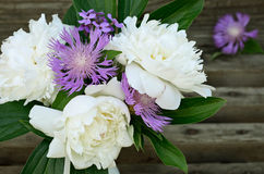 Bouquet of peonies and cornflowers on gray background Stock Photo