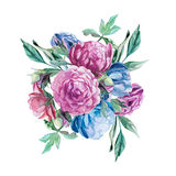 Bouquet of peonies isolate on white background. Watercolor romantic bouquet of peonies isolate on white background Stock Photo