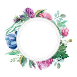 Bouquet of peonies isolate on white background. Watercolor romantic wreath of red peonies, roses and leaves with label isolated on white background Stock Photo