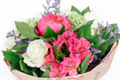 Bouquet of peonies, roses and alstroemeria. On white background Stock Images
