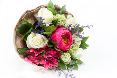 Bouquet of peonies, roses and alstroemeria. On white background Royalty Free Stock Images