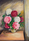Bouquet of peonies in a vase. Oil painting on canvas.Bouquet of peonies in a vase Royalty Free Stock Photo