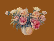 Bouquet of peonies watercolor vintage isolated. Bouquet of white and rose peonies watercolor illiustration Royalty Free Stock Images