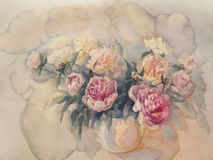 Bouquet of peonies watercolor. Bouquet of white and rose peonies watercolor illiustration Stock Images