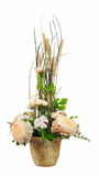 Bouquet from peony flowers, cotton balls and ears of wheat. Royalty Free Stock Images