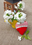 Bouquet of phloxes and red heart Stock Photography