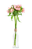 Bouquet of pink alstroemeria in glass vase Royalty Free Stock Photos