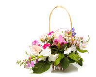 Bouquet pink in basket Stock Photo