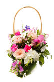 Bouquet pink in basket Stock Images