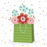 A bouquet of pink and blue flowers in a green paper bag. Vector illustration on white background with dots stock illustration