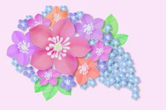 A bouquet of pink and blue flowers, mallow and forget-me-nots stock illustration