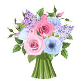 Bouquet of pink, blue and purple roses, lisianthus and lilac flowers. Vector illustration. Vector bouquet of pink, blue and purple roses, lisianthus and lilac stock illustration