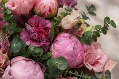 Bouquet of pink bud peonies and carnation closeup Royalty Free Stock Images