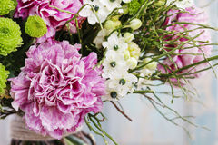 Bouquet of pink carnation, arabian star flower (ornithogalum ara. Bicum) and green chrysanthemums. Party decoration Stock Photos