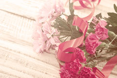 Bouquet of pink Chrysanthemum and Carnation flowers Stock Image