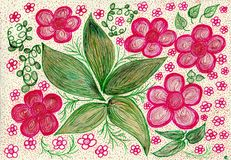 Bouquet of pink dreams. The painting is made by colored pens and markers on paper. The image size is about A4 Royalty Free Stock Photo