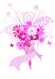 Bouquet of pink flowers. For design on white Stock Photo