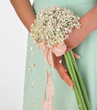 Bouquet of pink flowers. On white background royalty free stock photo