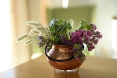 Bouquet in a copper pot royalty free stock photos