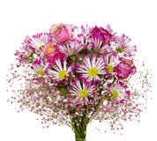 Bouquet of pink flowers  isolated on white. Stock Images