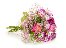 Bouquet of pink flowers  isolated on white. Stock Photography