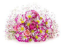 Bouquet of pink flowers  isolated on white. Stock Photos