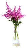 Bouquet of pink flowers in vase. Isolated on white background Stock Photography